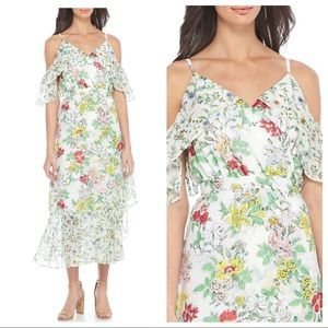 Nanette Lepore white floral maxi faux wrap dress